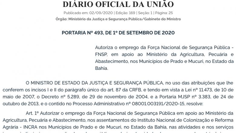Governo Federal coloca Força Nacional em assentamentos do MST na Bahia