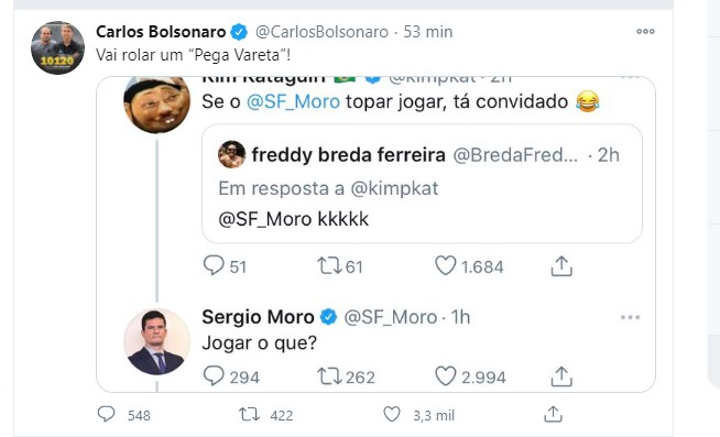 """Vai rolar um pega vareta"", diz Carlos Bolsonaro após Moro ser chamado por Kim para jogar"