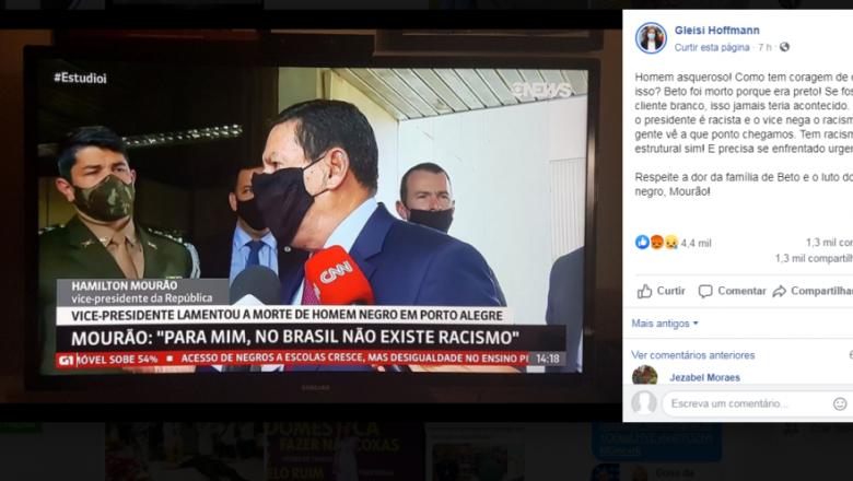 """Petista chama o general Mourão de """"asqueroso"""" e diz que Bolsonaro é """"racista"""""""