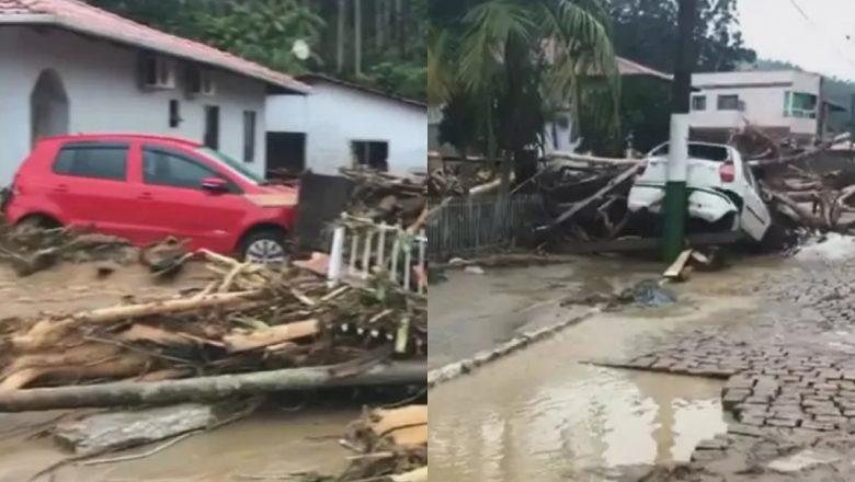 Equipes buscam 9 desaparecidos após temporal em Santa Catarina