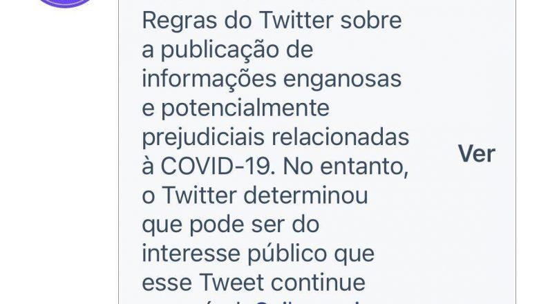 Pesado: o Twitter acaba de censurar postagem do Ministério da Saúde brasileiro