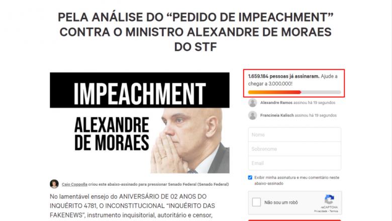 """Autor do pedido de impeachment de Moraes fala sobre abaixo-assinado: """"A sociedade vai tirar esse homem do STF"""""""