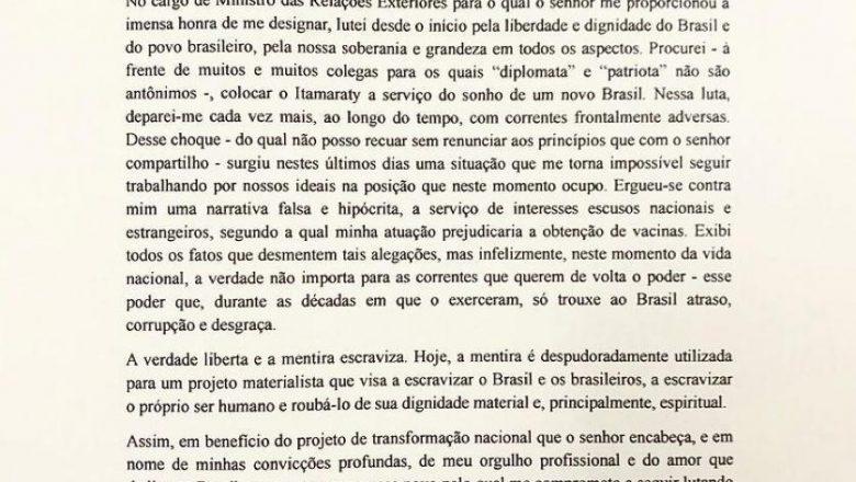 Leia a carta de demissão de Ernesto Araújo