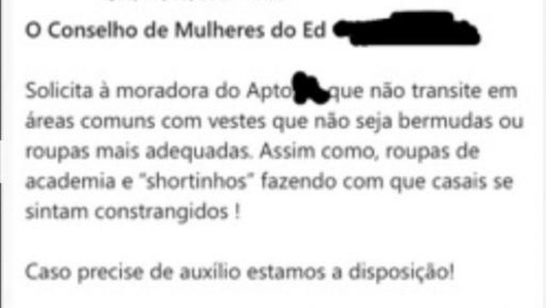 Moradora do DF que recebeu mensagem para não usar 'shortinhos' diz que vai processar condomínio se não houver retratação em 48 horas