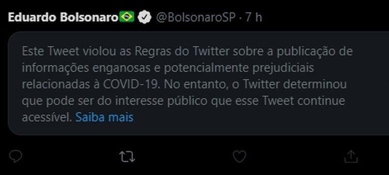 Twitter oculta post de Eduardo Bolsonaro criticando o lockdown