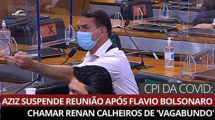 Aziz suspende reunião da CPI após Flavio Bolsonaro chamar Renan Calheiros de 'vagabundo' – G1